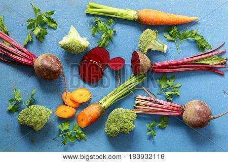 Fresh vegetables, carrots , beets and broccoli