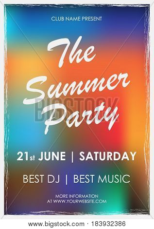 Vector flyer to summer party with colorful background