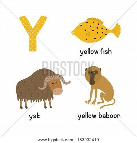 Letter Y. Cartoon alphabet for children. vector illustration animal Yak, yellow fish, yellow baboon. isolated on white background