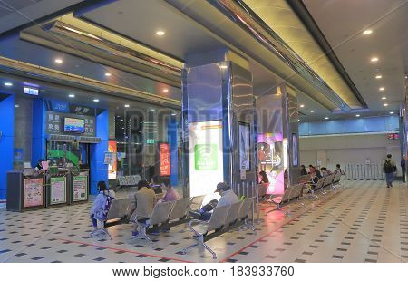 TAIPEI TAIWAN - DECEMBER 9, 2016: Unidentified people travel at Taipei long distance bus terminal.