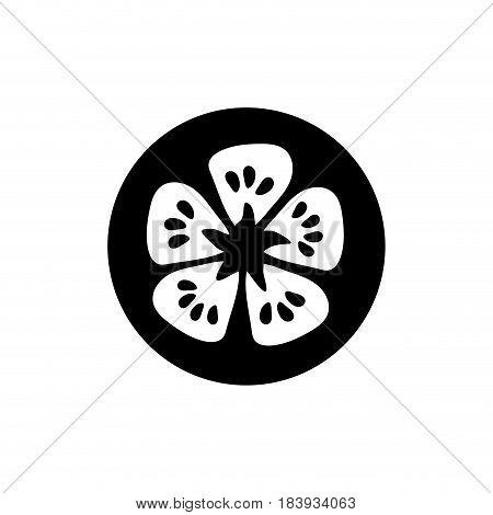 contour fresh slice limon organ vegetable, vector illustration
