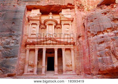 The treasury in world wonder Petra in Jordan