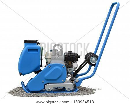 Vibratory plate compactor isolated over white background