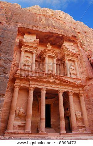 Treasury in world wonder Petra, Jordan