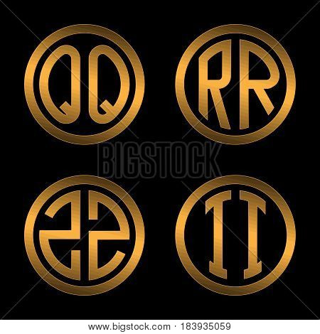 Set 1 of templates from two capital Golden letters on a black background Q, R, S, T inscribed in a oval. To create logos, emblems, monograms.
