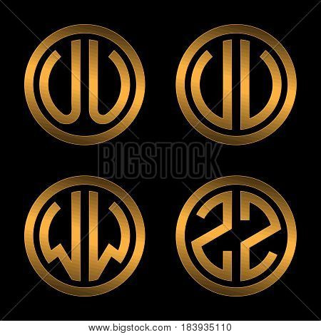 Set 1 of templates from two capital Golden letters on a black background U, V, W, Z inscribed in a oval. To create logos, emblems, monograms.