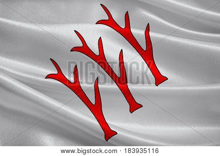 Flag of Sarrebourg is a commune in the Moselle department in Grand Est in north-eastern France. 3D illustration
