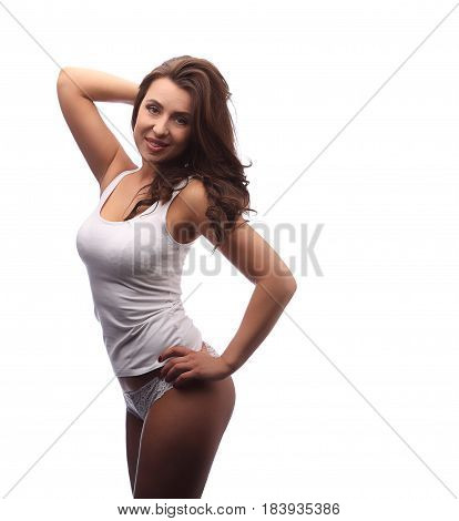 Dark Curly Hair Model In White Cotton Clothes Isolated On White, One Hand On Hip Another Up, Side Vi