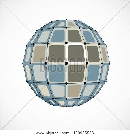 3D Vector Digital Wireframe Spherical Object Made Using Facets. Geometric Polygonal Gray Structure C
