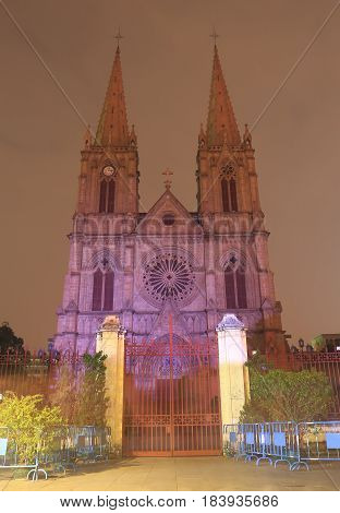 Sacred Heart Cathedral in Guangzhou China. Sacred Heart Cathedral is one of the few churches in the world to be entirely built of granite, including all the walls, pillars, and towers.