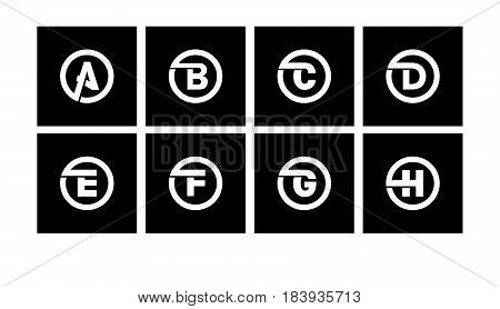 Set 1 of templates, capital letters inscribed in a circle of wide white bands with an overlay of shadows. To create emblems, monograms, logos.