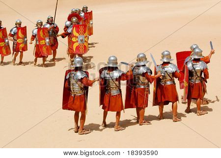 Attack and defense position for Roman soldiers during Roman show in Jerash, Jordan