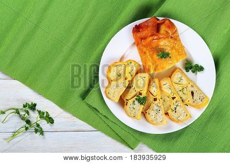 Cake Of Crepes Rolls Stuffed With Meat