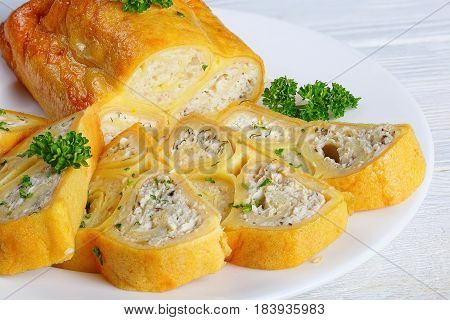 Crepes Wraps With Chicken Meat, Cottage Cheese