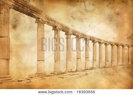 Greek and roman style architecture with columns in Jerash, Jordan on grunge parchment paper background