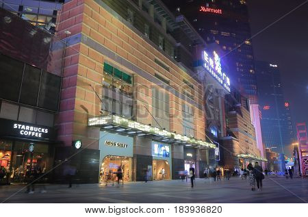 GUANGZHOU CHINA - NOVEMBER 13, 2016: Unidentified people visit Grandview mall. Grandview mall is a contemporary shopping mall in downtown Guangzhou.