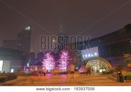 GUANGZHOU CHINA - NOVEMBER 13, 2016: Unidentified people visit Tianhe road shopping district.