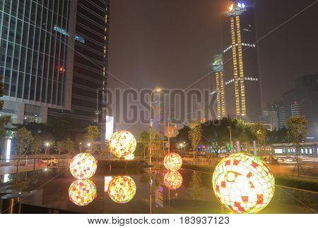 GUANGZHOU CHINA - NOVEMBER 13, 2016: Tianhe road shopping district.