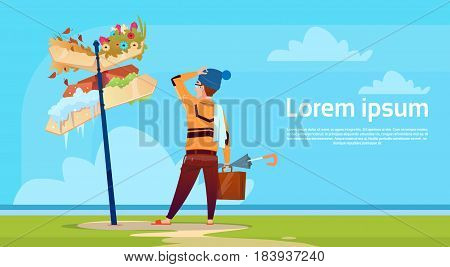 Man Standing Looking At Sign Choose Direction And Weather Way Signboard Arrow Flat Vector Illustration