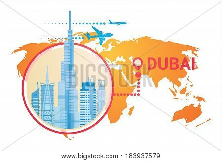 Dubai Skyline Panorama Over World Map, Modern Building Cityscape Business Travel And Tourism Concept Flat Vector Illustration