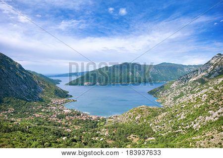 coast of Kotor Bay high view, Montenegro