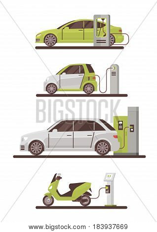 Electrical Cars And Scooters At Charging Station Eco Friendly Vehicle Set Flat Vector Illustration