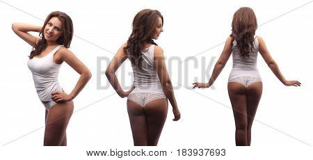 Dark Curly Hair Model In White Cotton Top And Panties Isolated On White, Collage View Different Side
