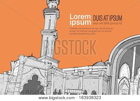 Nabawi Mosque Building Muslim Religion Ramadan Kareem Holy Month Vector Illustration