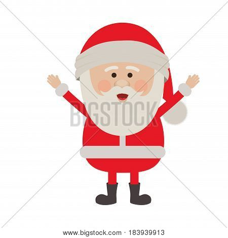 colorful silhouette of santa claus with open arms vector illustration
