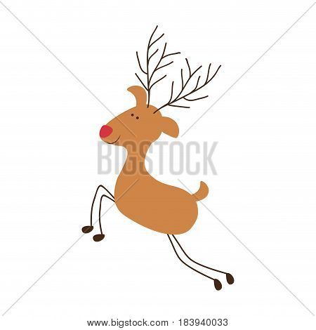 silhouette caricature color of reindeer with red nose vector illustration