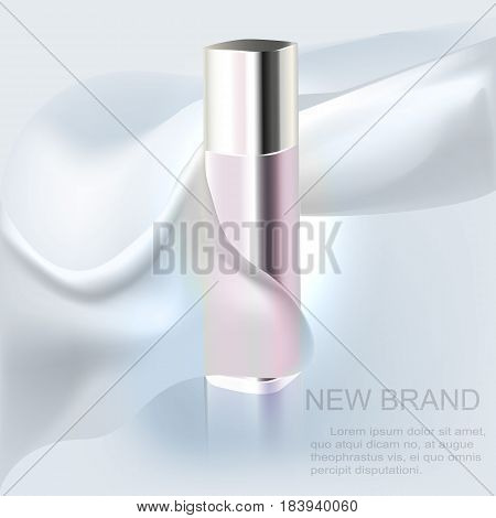 A new brand of lotion, flower lotion cosmetic bottle and silk texture. Vector illustration.