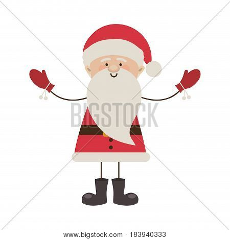 colorful silhouette caricature of santa claus with open arms vector illustration