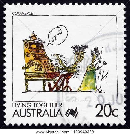 AUSTRALIA - CIRCA 1988: a stamp printed in the Australia shows Commerce Living Together circa 1988