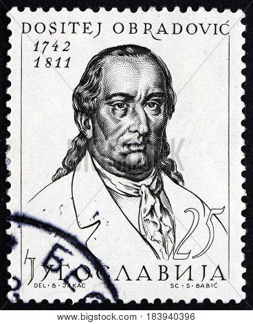 YUGOSLAVIA - CIRCA 1963: a stamp printed in Yugoslavia shows Dositej Obradovic Serbian Writer and Educator Was First Minister of Education of Serbia circa 1963