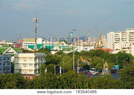 BANGKOK, THAILAND - JANUARY 03, 2017: Urban landscape of the administrative district Bowon Niwet, sunny day