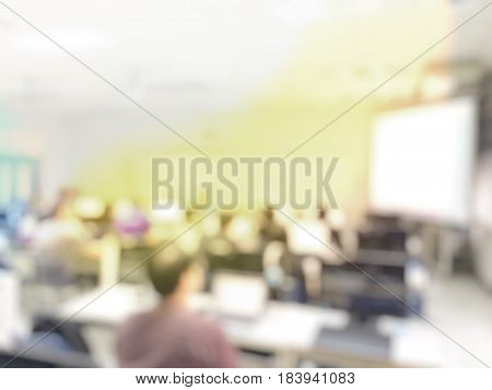 Abstract Blur Image Of Students Lecture In Computer Lab, People Classroom College University Teacher