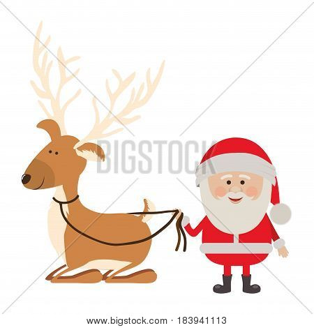 background with caricatures of reindeer holding by rope to santa claus vector illustration