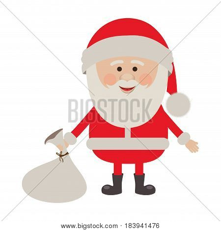 colorful silhouette of santa claus with gift bag on floor vector illustration