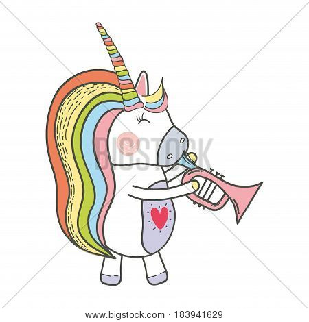 beautiful unicorn play trumpet instrument, vector illustration