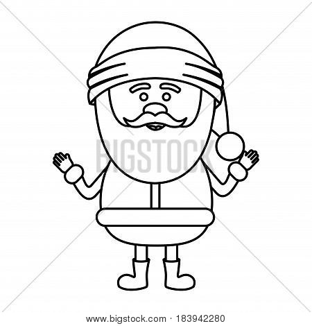 monochrome contour of smiling santa claus with open arms vector illustration