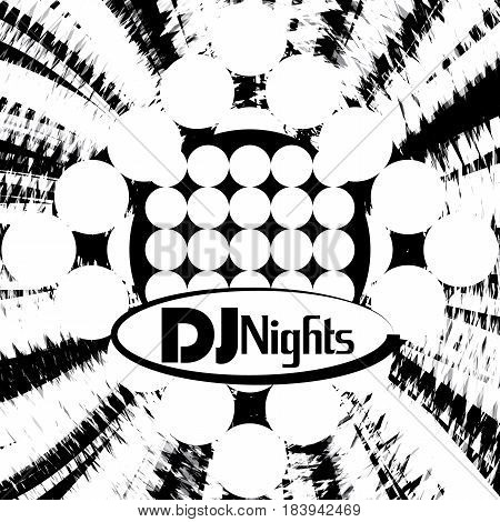 Dj party abstract banner for discotheque and musical nights