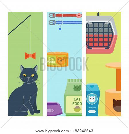 Colorful cat accessory cards and cute vector animal icons collection pet equipment elements food domestic feline illustration. Safety grooming design carry supplies and funny toys.