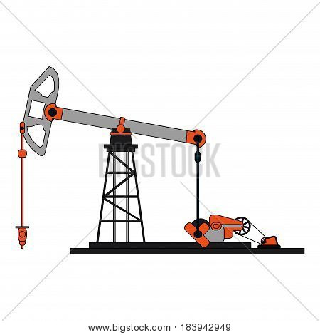 colorful graphic tower and system oil extraction vector illustration