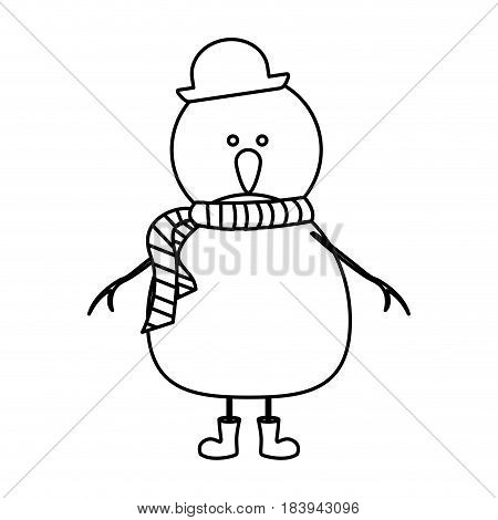 monochrome contour of snowman with boots and scarf and hat vector illustration