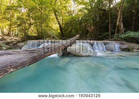 Deep tropical forest waterfall natural landscape background