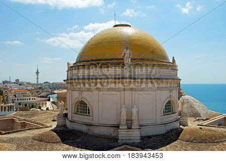 Cathedral dome seen from the Torre de Poniente bell tower Cadiz Cadiz Province Andalusia Spain Western Europe.