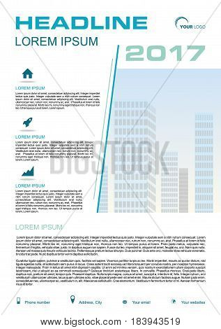 Vector Flyer, Corporate Business, Annual Report, Brochure Design And Cover Presentation With Blue Li