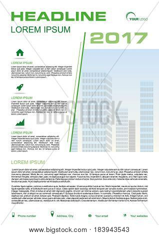 Vector Flyer, Corporate Business, Annual Report, Brochure Design And Cover Presentation With Green L