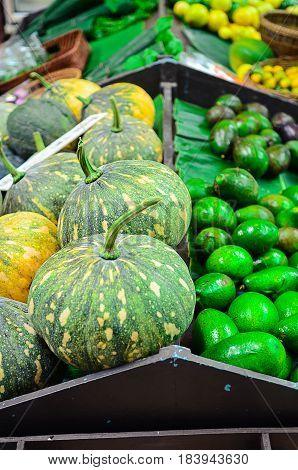 Display fresh market fruit and vegetable sale market background. selective focus.