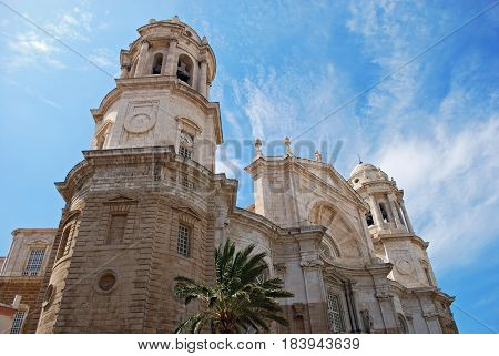 Front of Cathedral featuring its two octagonal towers Cadiz Cadiz Province Andalusia Spain Western Europe.